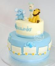 torta animaletti azzurro